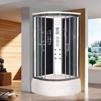 Lisna Waters LW4 900mm x 900mm Black Quadrant Steam Shower